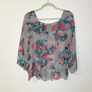 Jessica Simpson Gray Sheer Floral Top Size XL